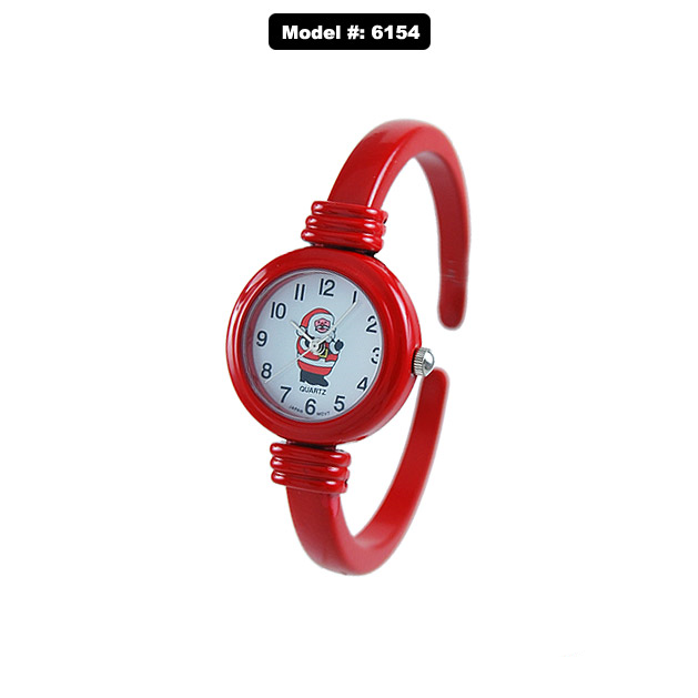 Christmas Bangle Fashion Watch Tiny Snowman - Red - 26mm