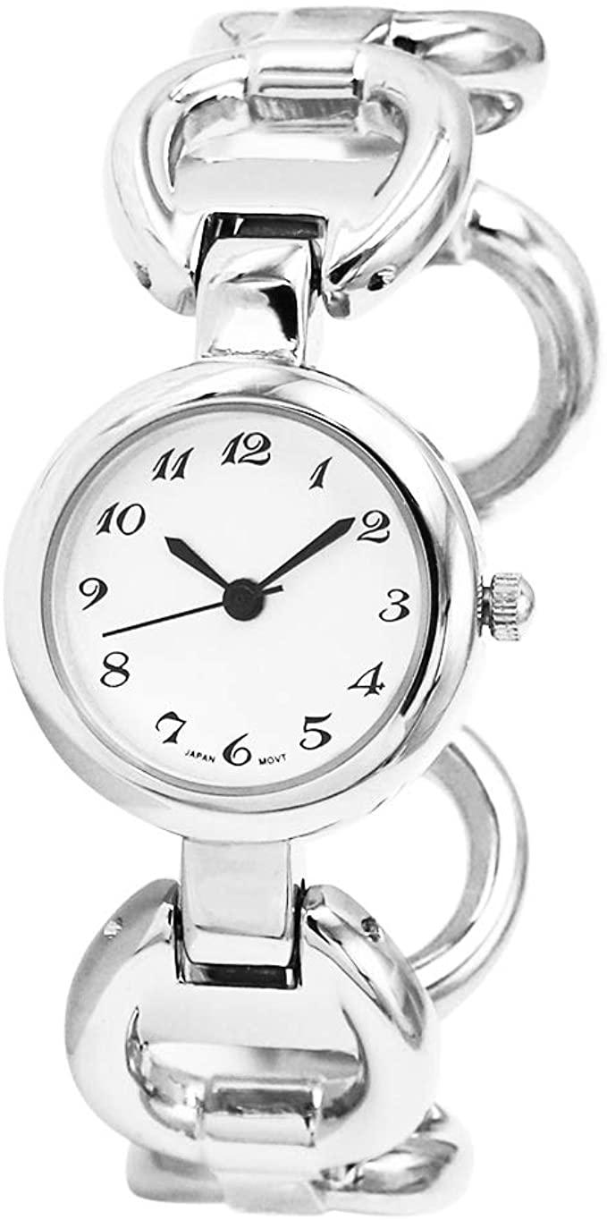 Ewatchwholsale-Women's Stylish Round Face Circular Pattern Polished Metal Cuff Bracelet Watch