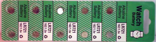 10 Alkaline Watch Batteries (LR721)