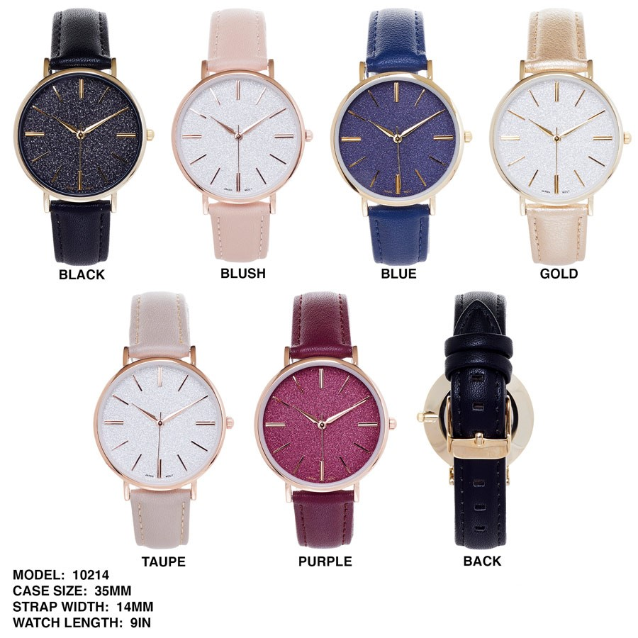 New Women's Stylish 35mm Round Dial with Leather Strap Watch