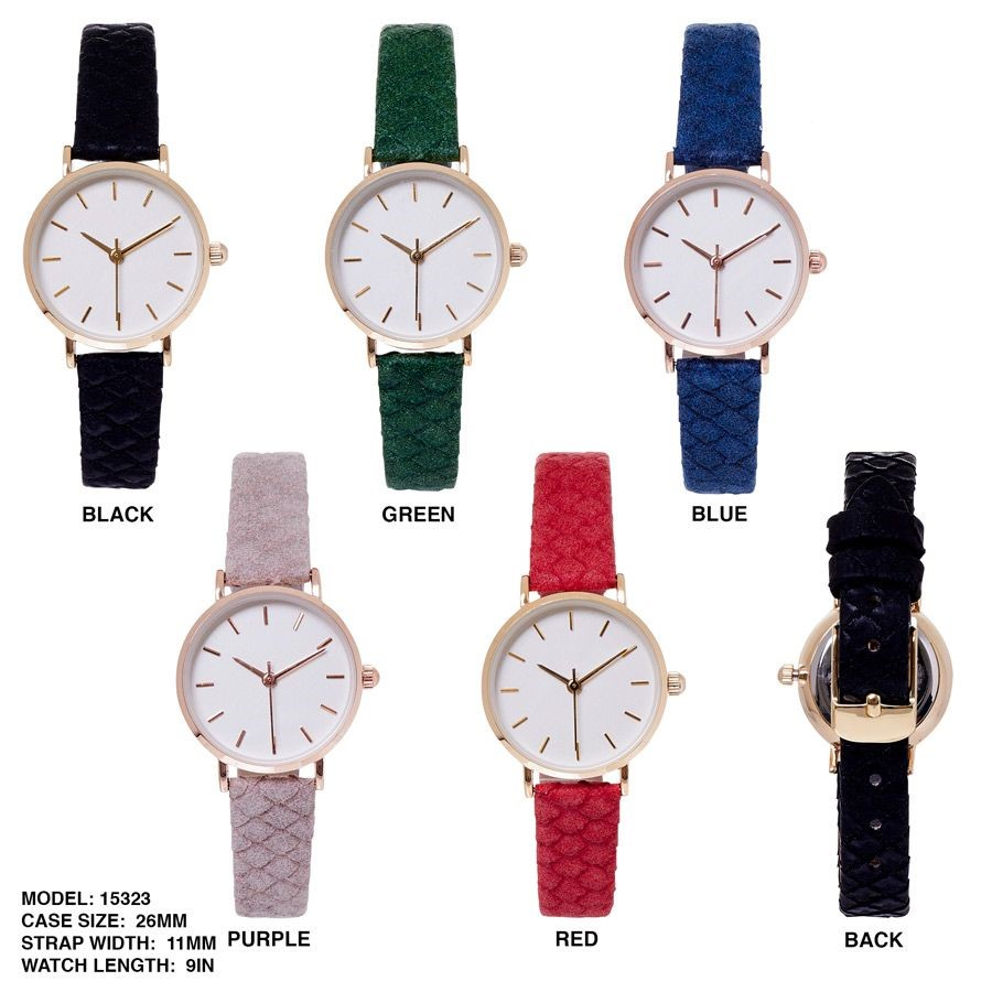 Women's 26mm Round Dial with Color Full Leather Strap Band