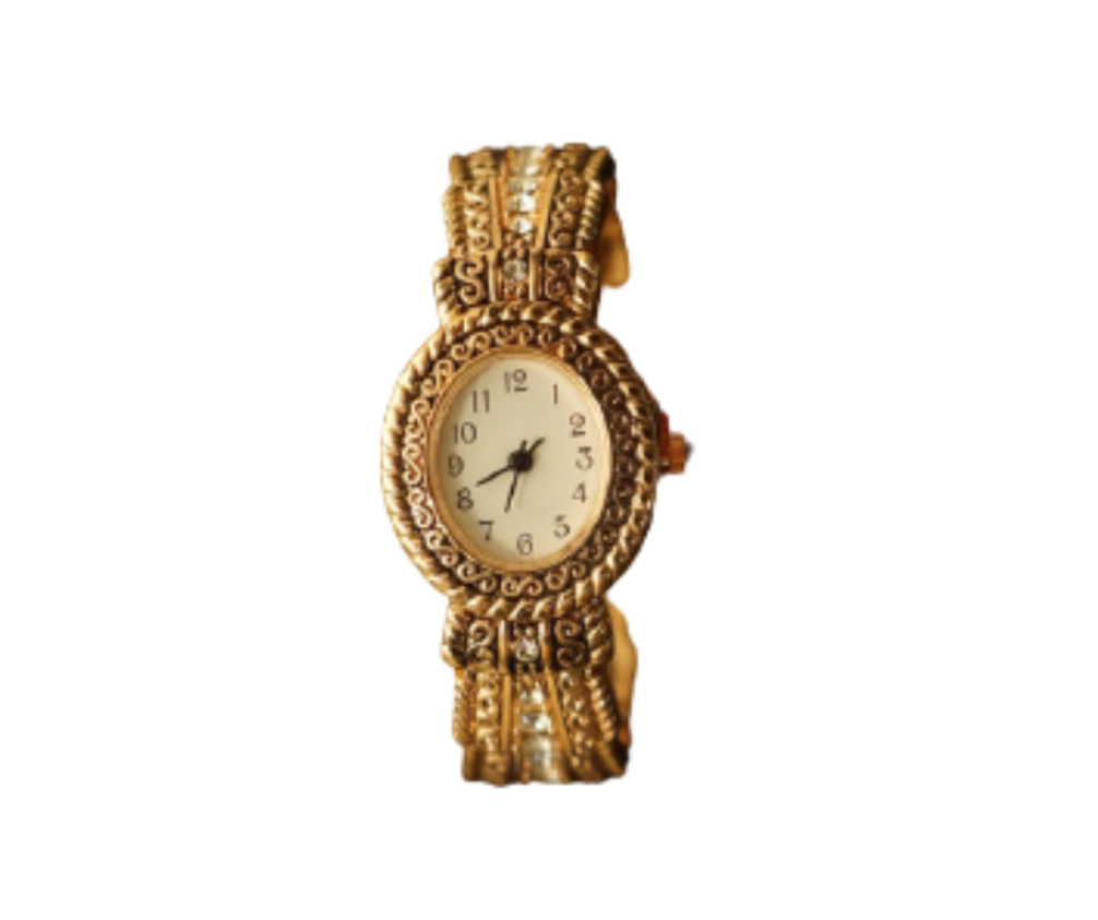 Women's Gold-tone Cuff bangle Watch with Rhinestone Metal Strap