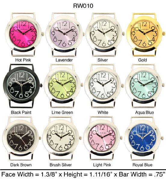 Women's Geneva Solid Bar Round Dial with large number Face Watch