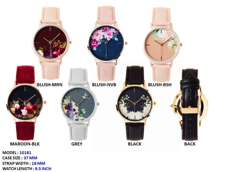 New Women's 37mm Round Flower Printed Dial Watch