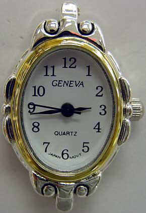 Geneva Oval shape Two Tone Beading Watch Faces