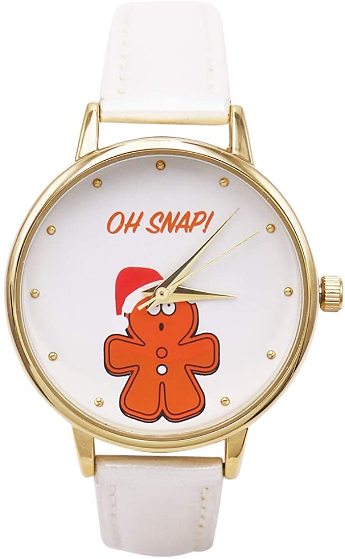 Excellentwatches Women's Glitter Novelty Christmas Holiday Watch (White Gingerbread Man)