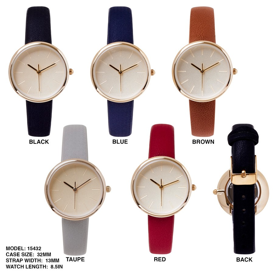 Ladies 32mm Round Dial with Colorful Leather Strap