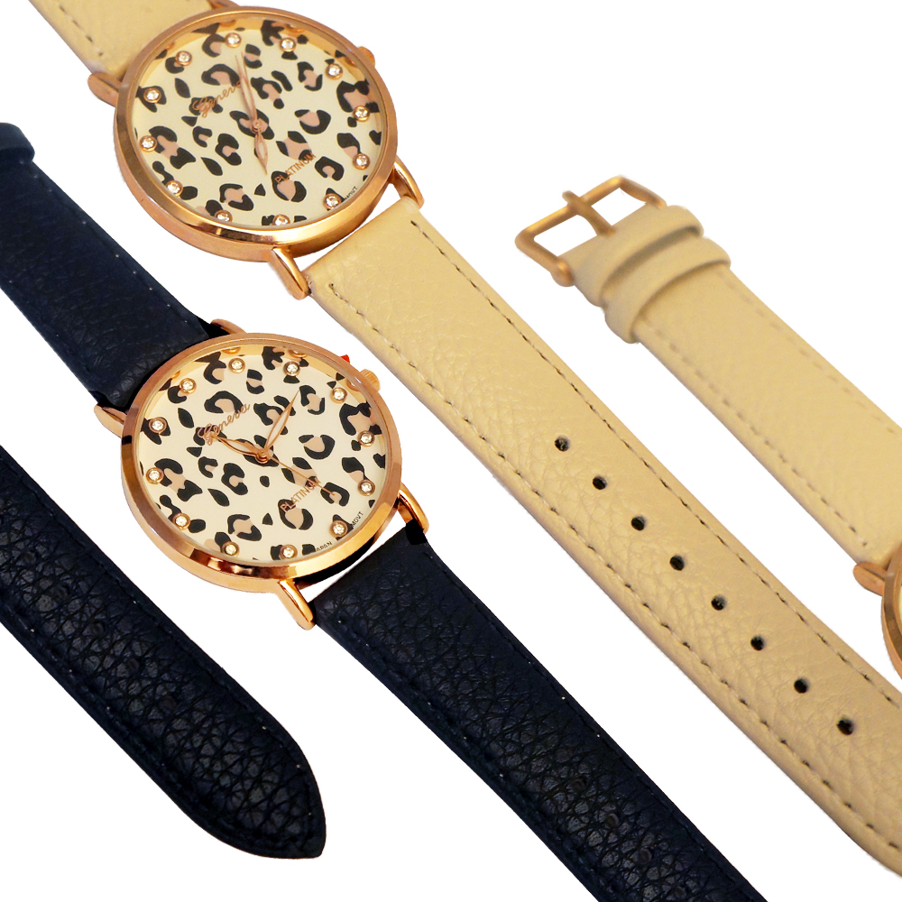 Ewatchwholsale-Women's  lappered  Skin printed Dial with leather Strap Band
