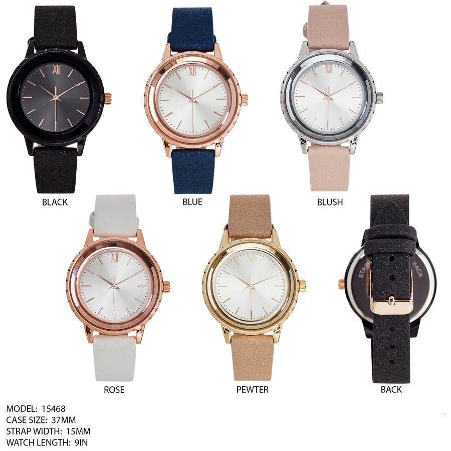 NEW Women's 37mm Round Dial with Rough Leather Band