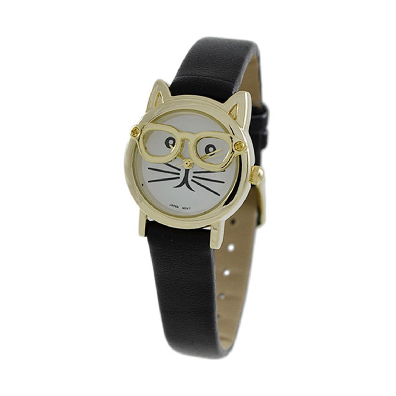 Women's CZ 24 mm Cat Face Dial with Leather band