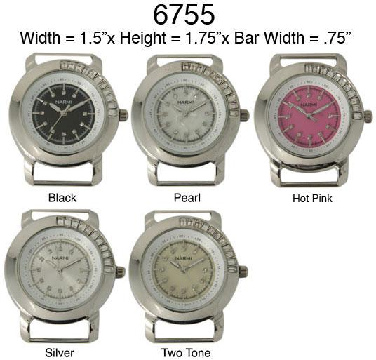 Ewatchwholsale-Women's 34mm Round Rhine Stone Solid bar Watch Face