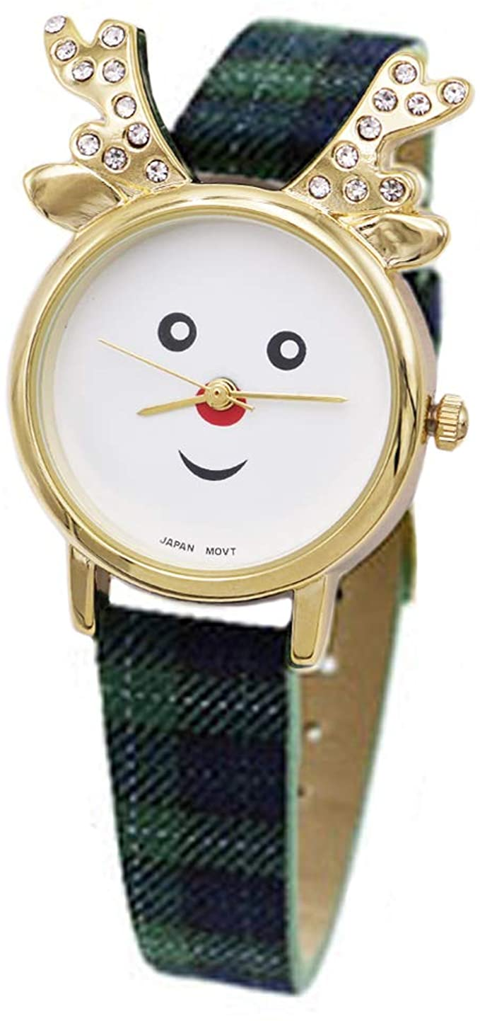 Excellentwatches Women's Adorable Christmas Holiday Red Nose Reindeer Wrist Watch (Blue/Green Plaid)…