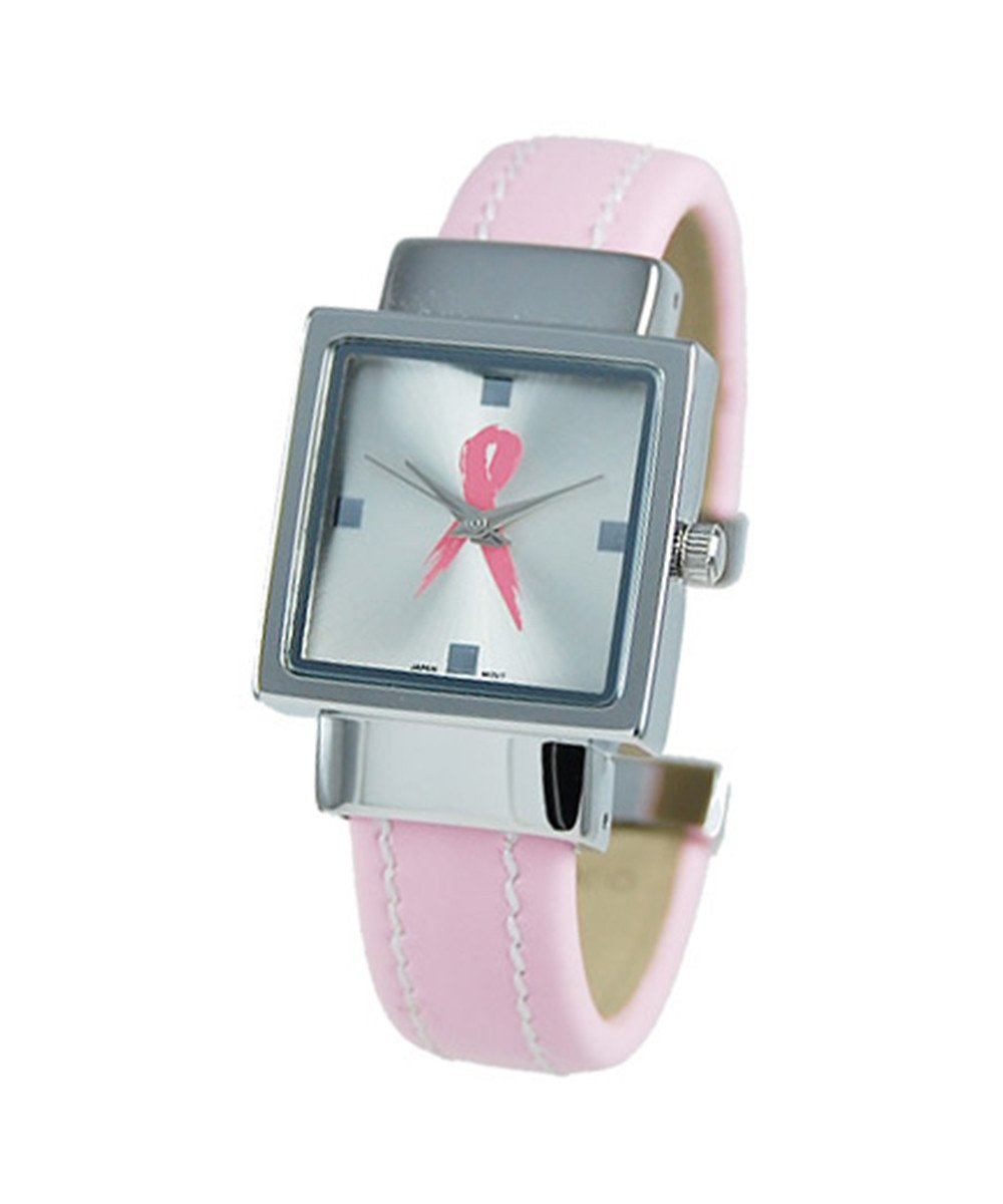 women's CZ 28mm Square Dial with cuff Style Band