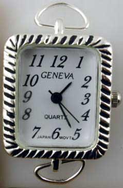 Geneva Square 24mm Silver tone loop watch faces