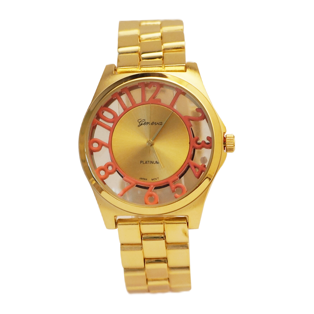 Ewatchwholsale-Unisex Gold Color watch with 34mm Round Fancy Number Dial