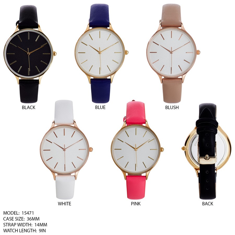 NEW Women's 36mm Round CZ dial Color full Leather Band