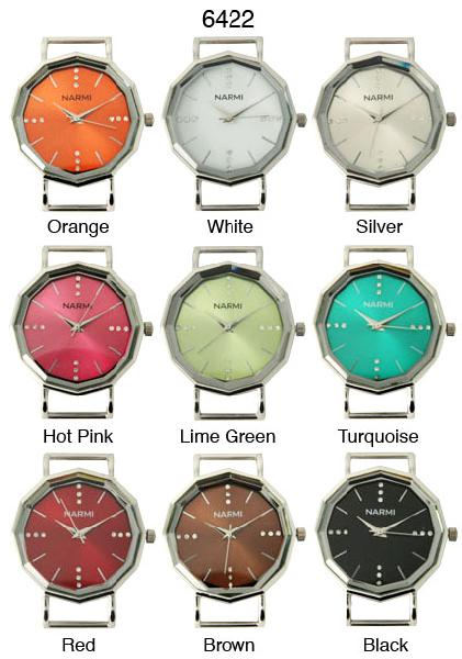 Narmi Solid Bar Watch Faces W/Rhinestones