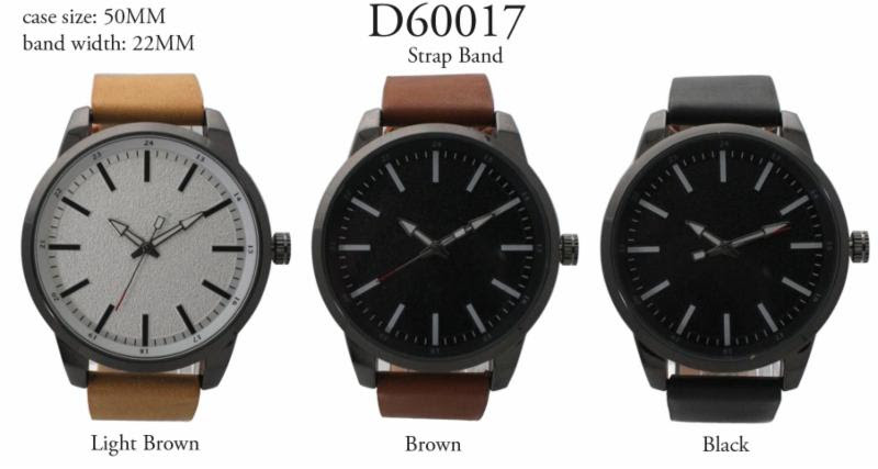 NEW Men's 50mm Round CZ Dial With Leather Strap band