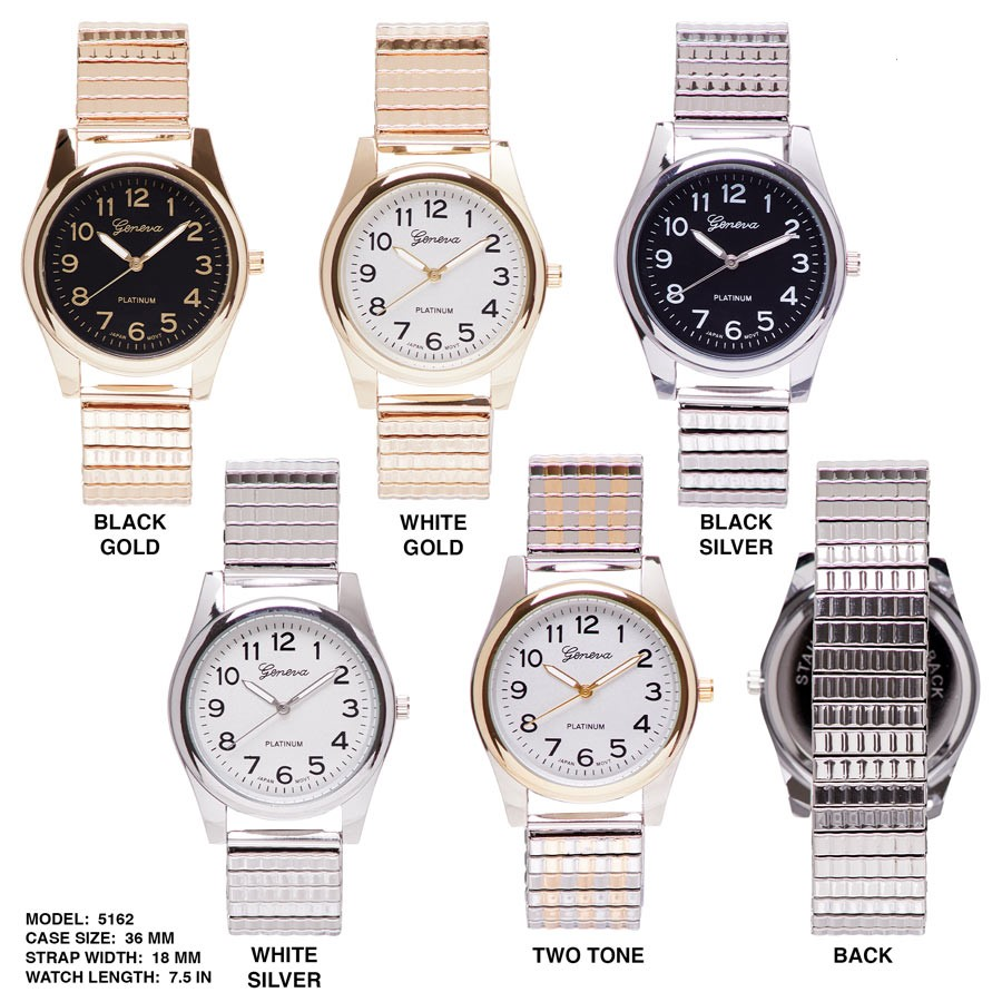 NEW women's 36mm Round CZ Number Dial With Metal Strap