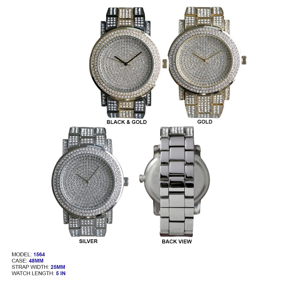 Men's 48mm Round CZ Dial With Stainless Steal Band