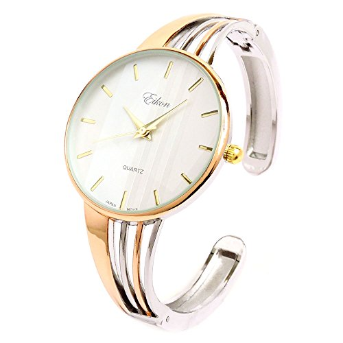 Ewatchwholsale-2Tone Rose Silver String Style Band Luxury Women's Bangle Cuff Watch
