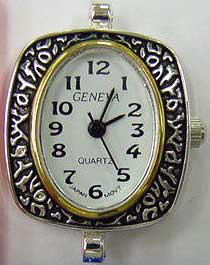 Geneva Stylish Oval shape Two tone beading watch faces