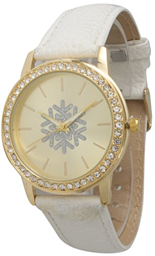 Ewatchwholsale-Christmas Leather Strap Watch with Rhinestone and Gold Tone