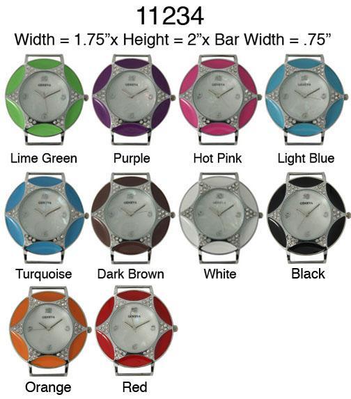 Star Rhinestone Enameled Round Solid Bar Watch Faces