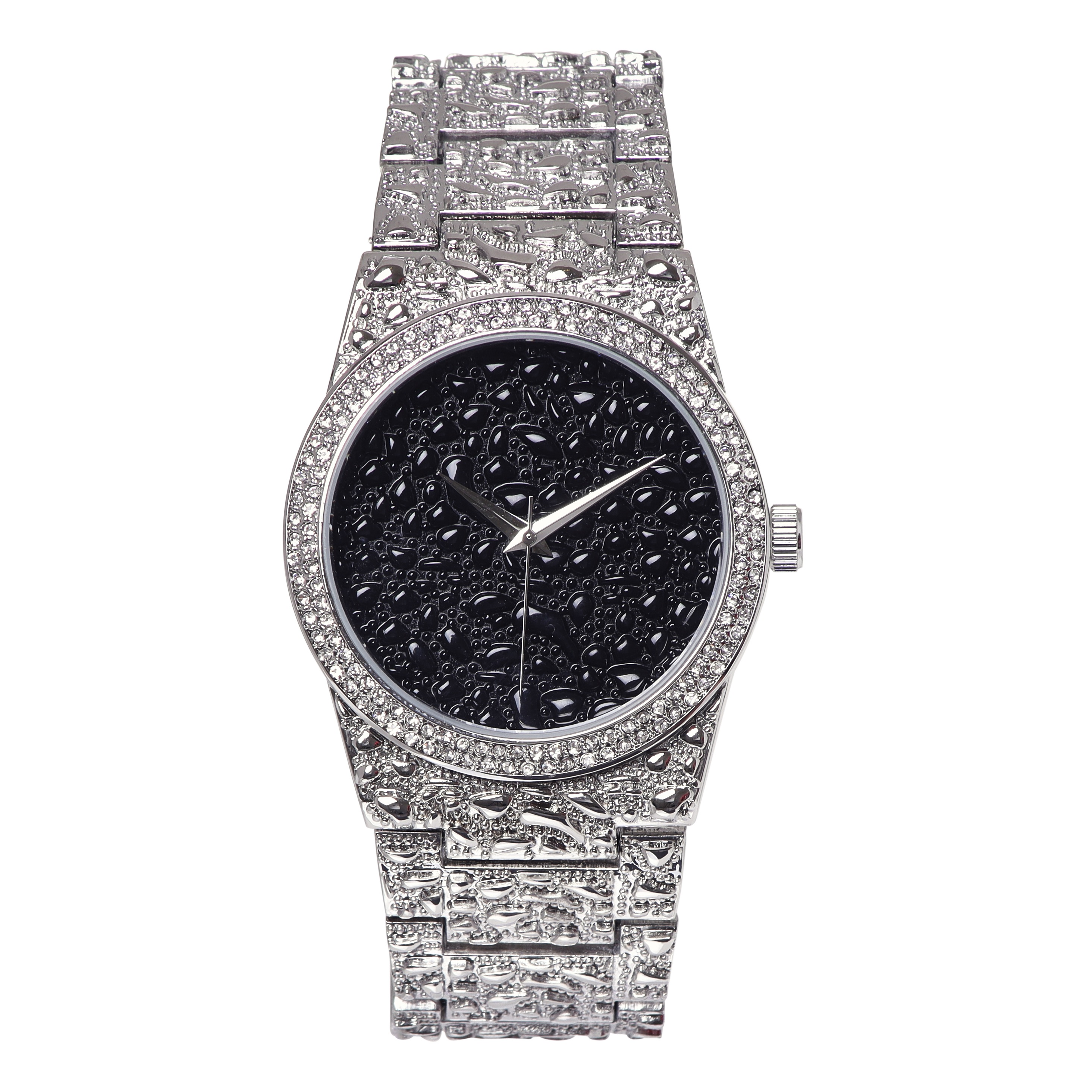 NEW Women's 43mm round CZ dial with stainless steal band