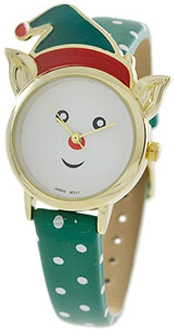 Excellentwatchesinc Women's Little Christmas Elf Holiday Watch (Green and White Polka dot)