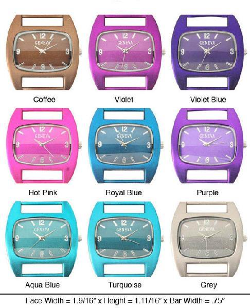 Womens's Geneva Solid Bar Watch Face- Metallic