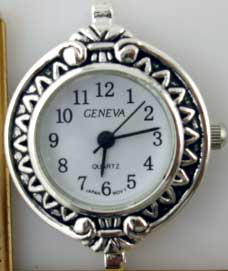 Geneva 22mm Round Dial Silver tone big hole Face