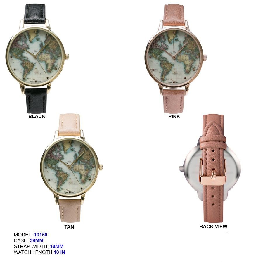 new fancy 39mm Map Printed Dial with Leather Strap Band