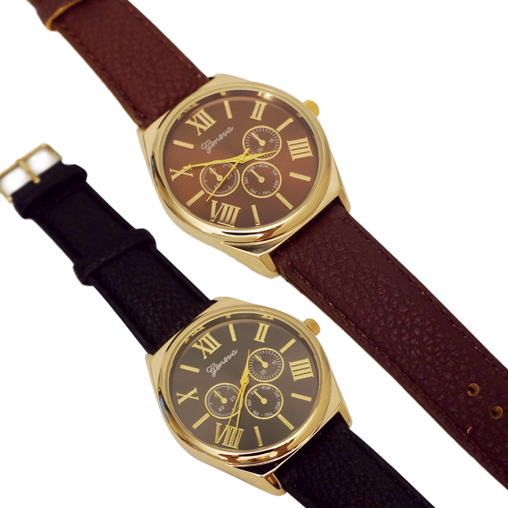 Ewatchwholsale-Unisex 34mm Round Roman Number Dial with Leather Strap Band