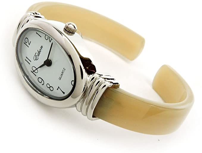Excellent watches-Silver Ivory Acrylic Band Silver Oval Face Women's Bangle Cuff Watch for Women