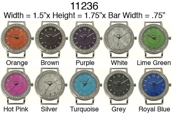 Round CZ Solid Bar Ribbon Watch Faces