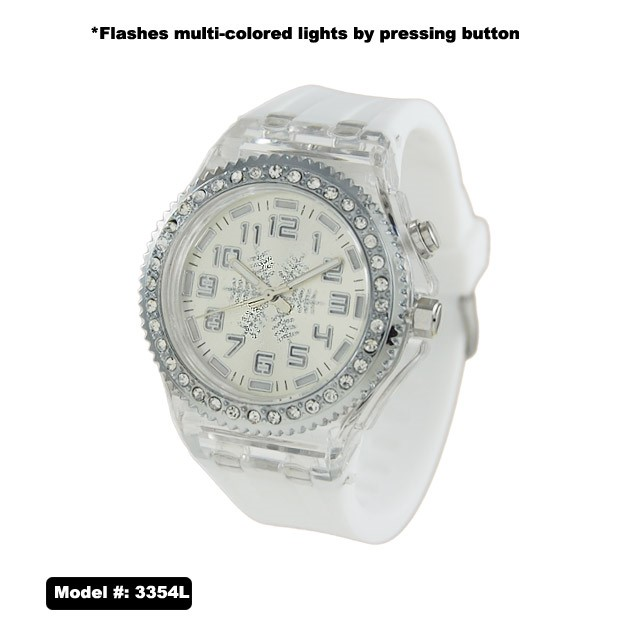 NEW Women's CZ Flash Light Watch With Silicone Rubber Band