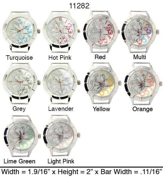 Round Butterfly CZ Solid Bar Ribbon Watch Faces