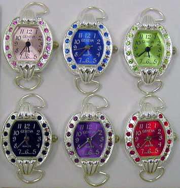 Oval Watches Faces with Color Rhinestone Case & Matching Dial