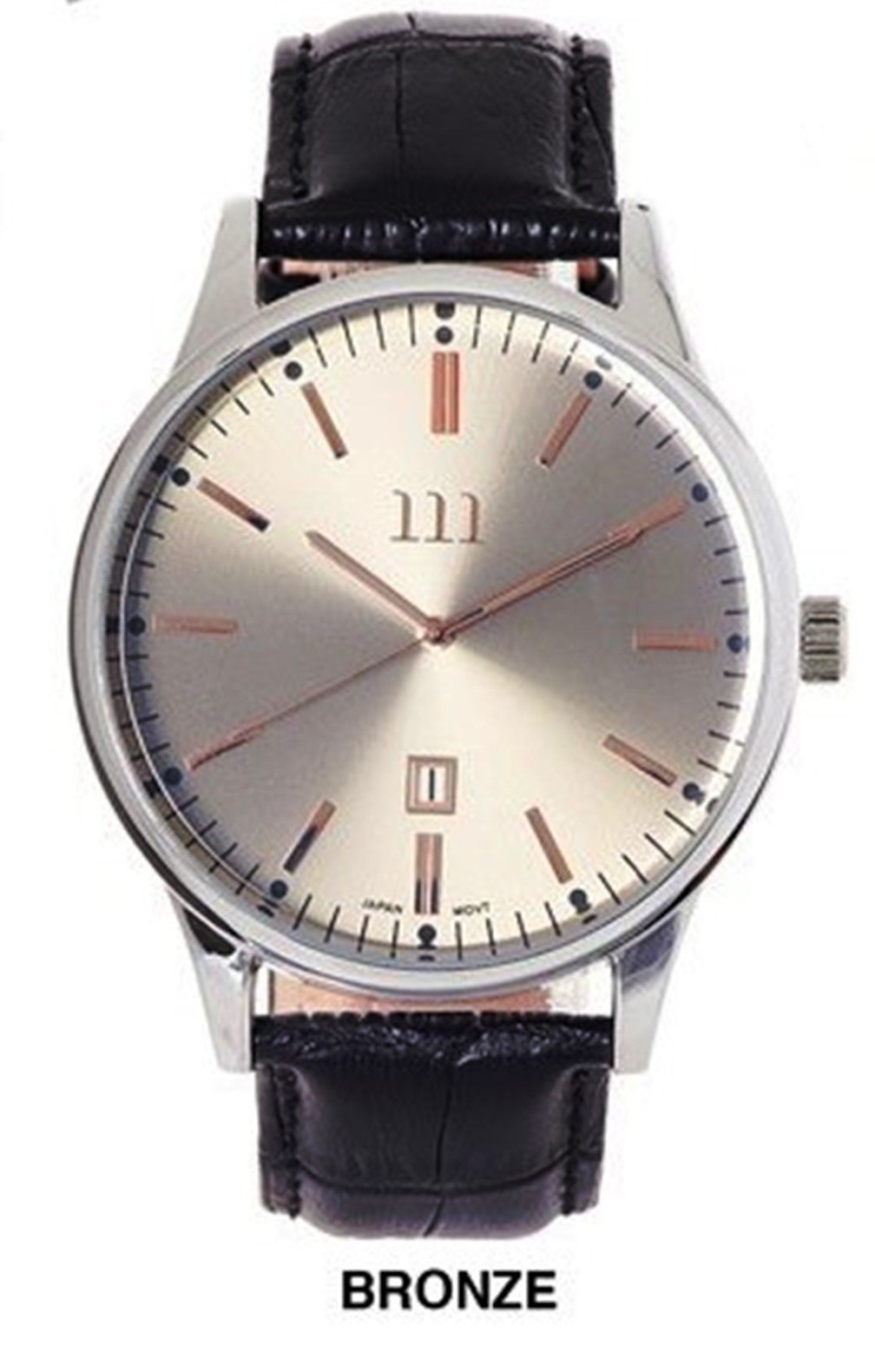 New Men's 46mm Round Dial With orignal Leather Strap Band