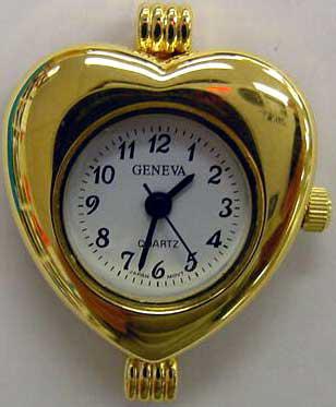 Geneva heart Shape Gold tone watch face