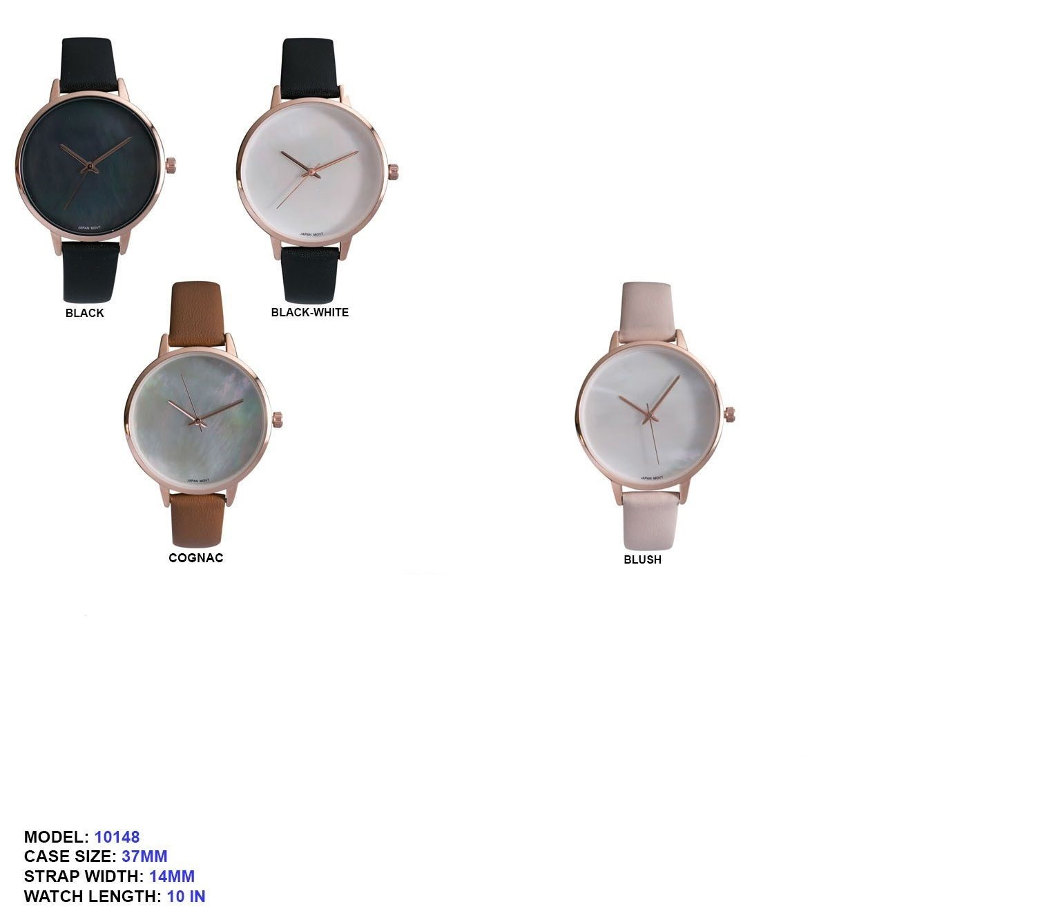 Women's 37mm Round Dial with leather Strap Watch