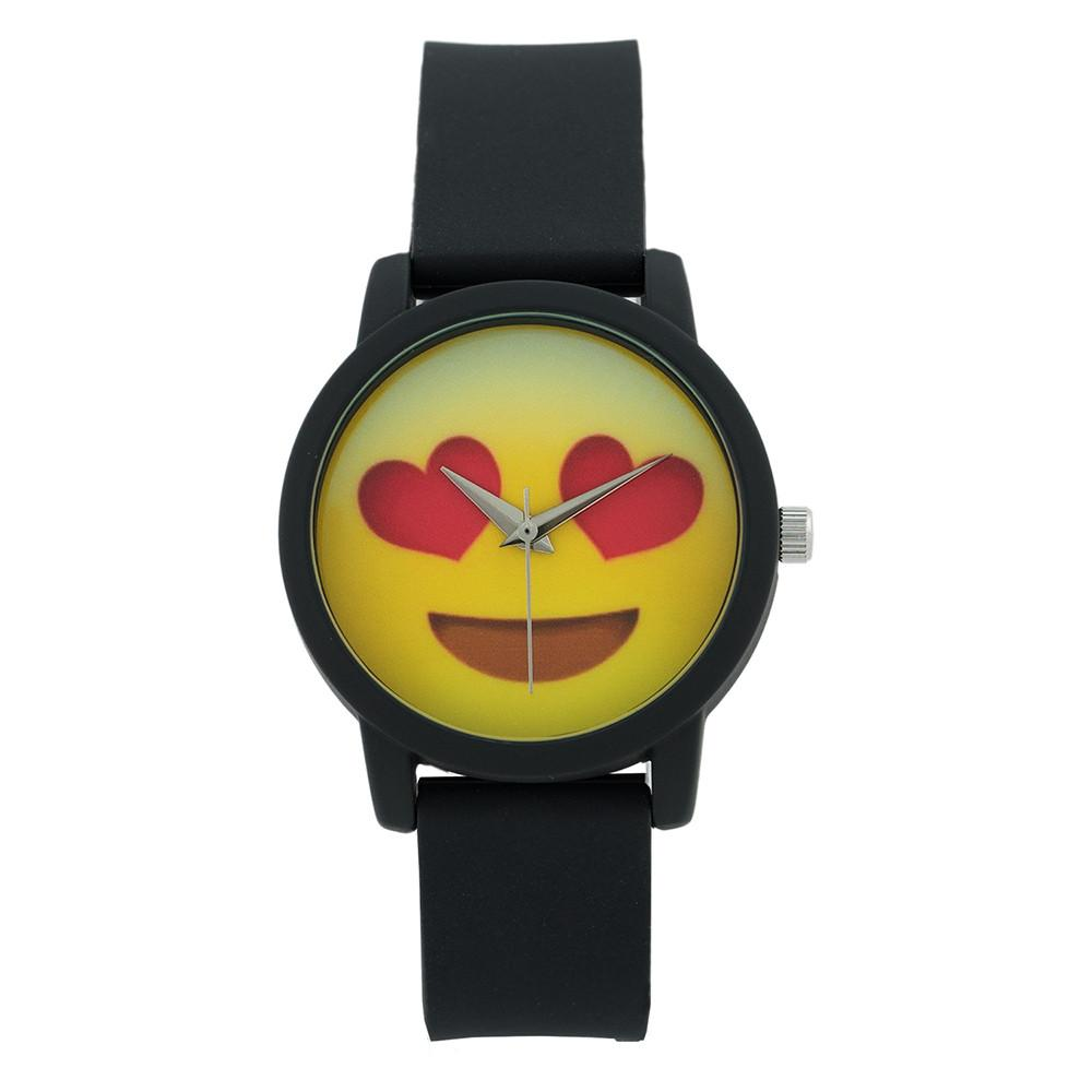 Women's CZ 34mm Emoji Dial with Silicone rubber Dial