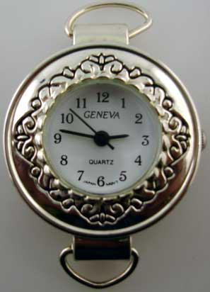 Geneva 20mm Round Silver loop Watch Face