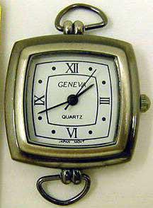 Geneva 22mm Square Antique Silver Watch Face