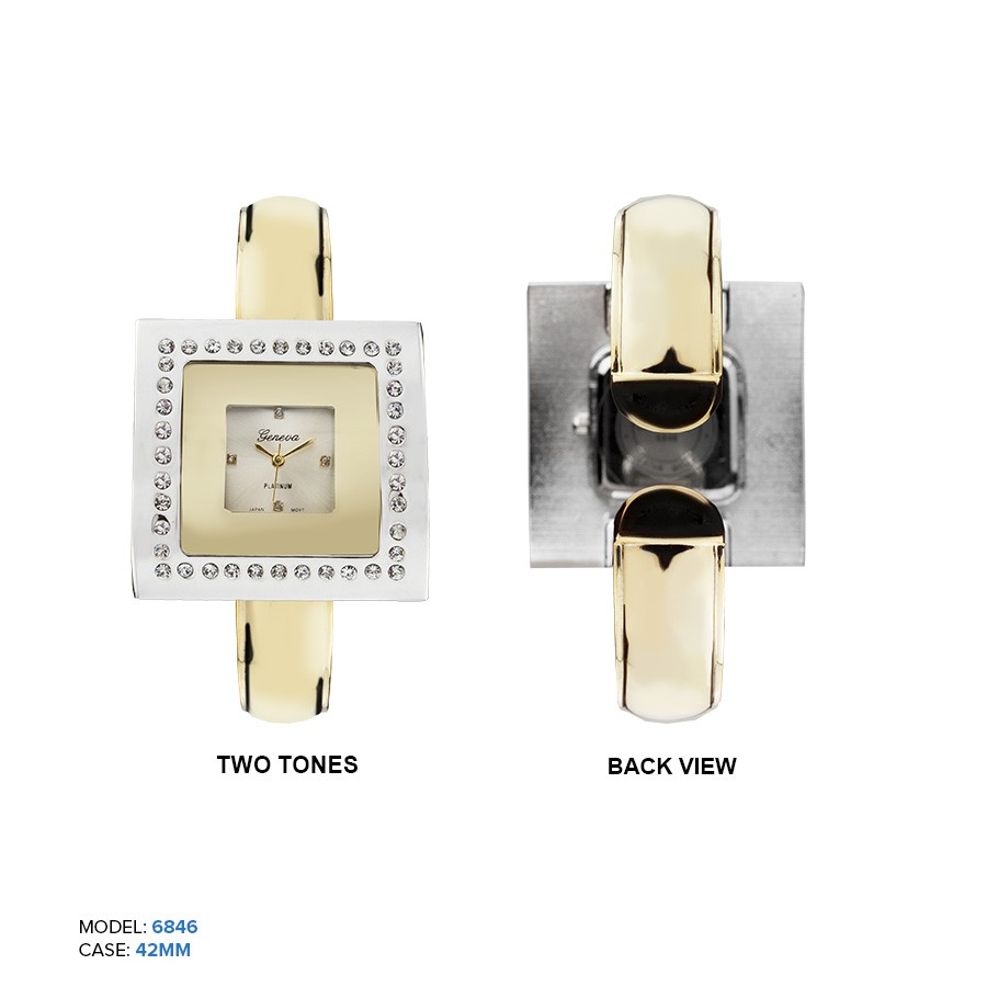 Women's Fancy white Fancy Dial with gold color cuff style band