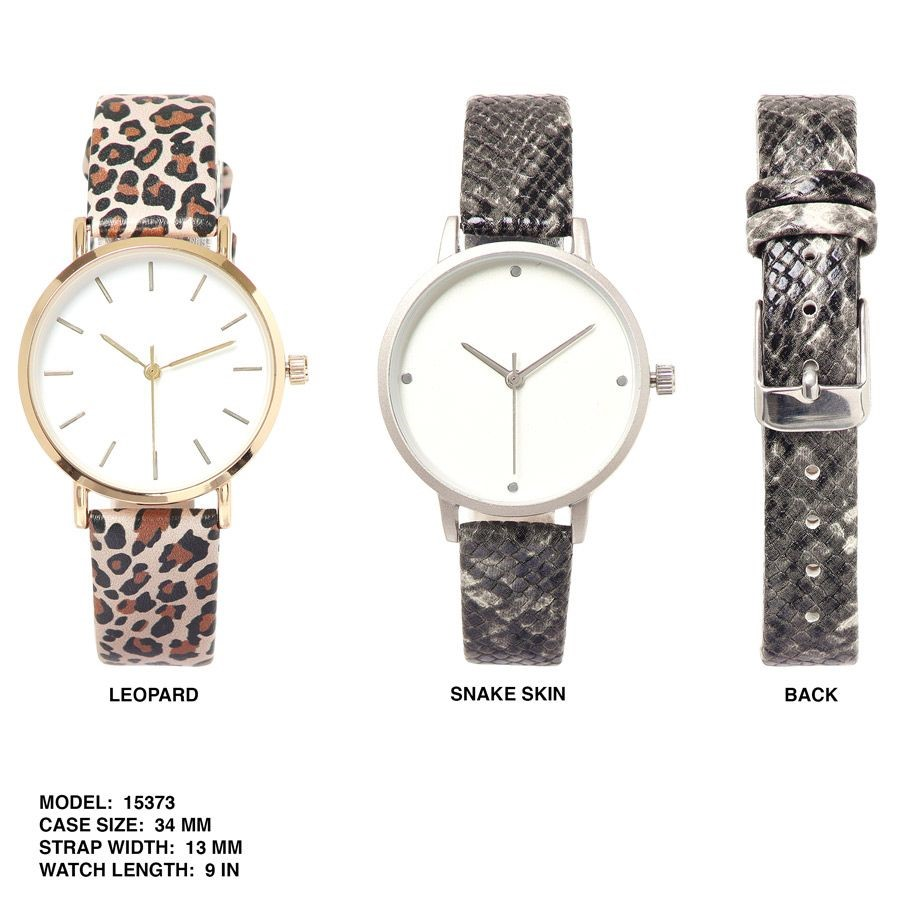 Women's 34mm Round Dial with animal skin Printed Band