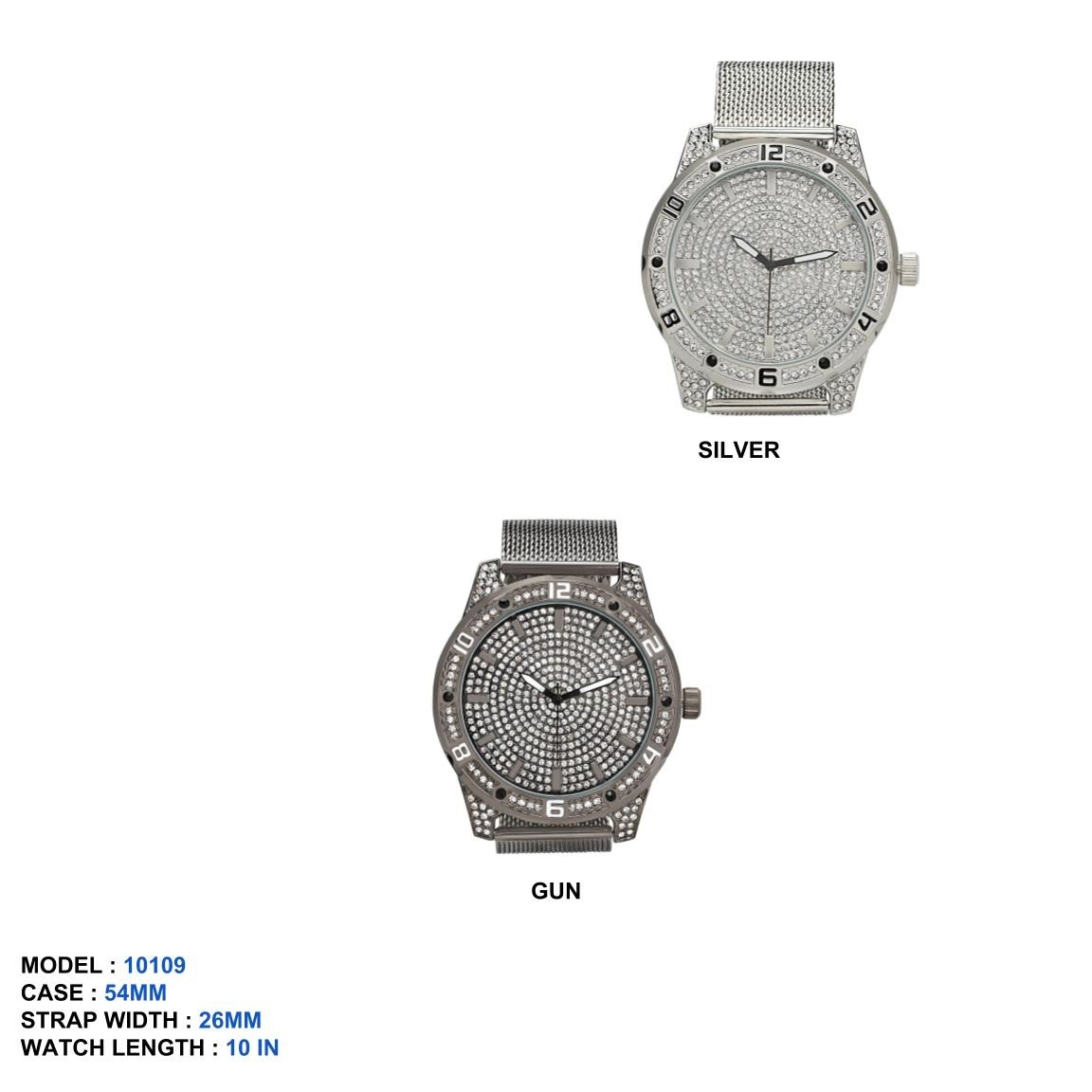 NEW Men's 54mm Round Dial with Mesh Strap Band