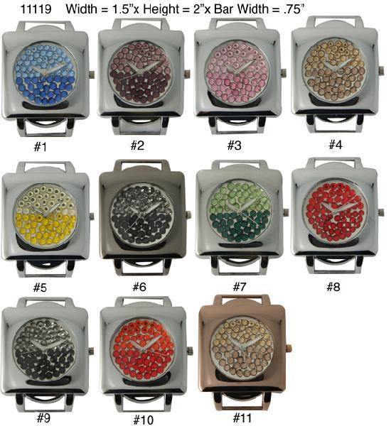Narmi 32mm Round solid bar Watch faces w/rhinestones