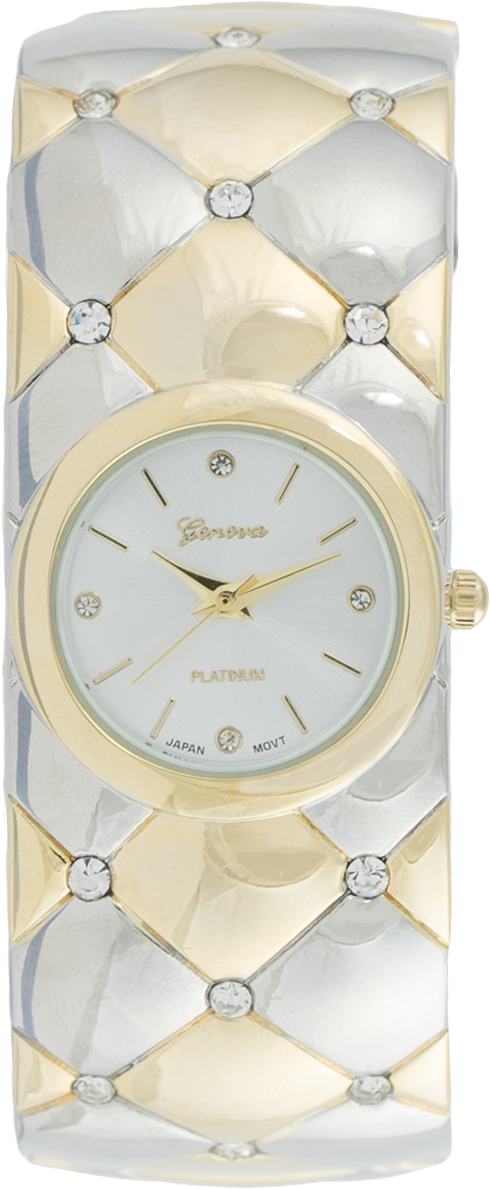 Geneva Round Dial with Stylish Cuff Style Band